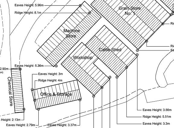How to indicate roof design on site plan