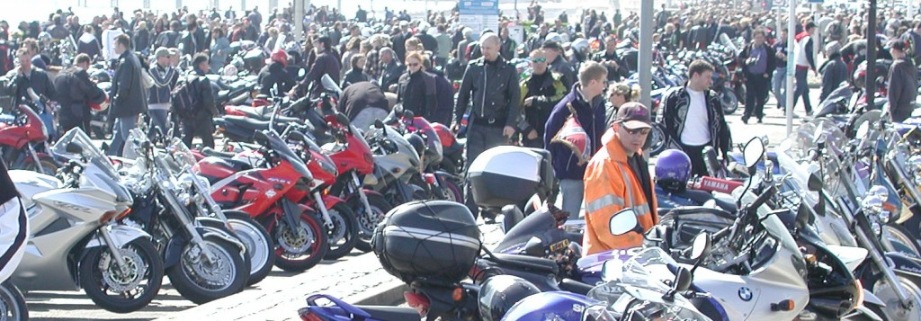 May Day Bikers crowd